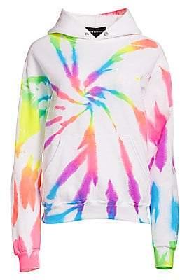 Myrrhe Women's Neon Rainbow Tie-Dye Hoodie