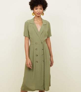 New Look Khaki Revere Collar Double Breasted Midi Dress