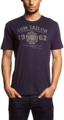 Tom Tailor Mens T-Shirt with Printed Motif On The Front Blue Size XXL