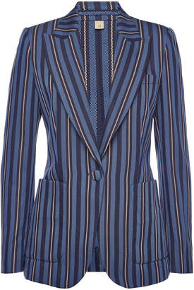 Burberry Queenspark Striped Blazer with Wool