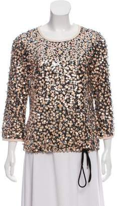 Diane von Furstenberg Long Sleeve Sequin Embellished Blouse