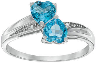 JCPenney FINE JEWELRY Genuine Blue Topaz and Diamond-Accent Sterling Silver Double-Heart Ring