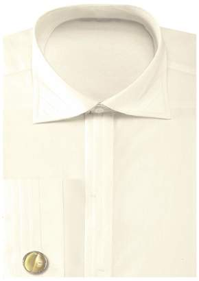 Sunrise Outlet Men's Solid Pleated Collar French Cuff Shirt with Cufflinks - 15.5 34-35