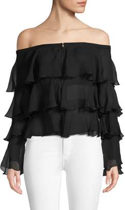 Balmain Ruffled Silk Off-The-Shoulder Blouse