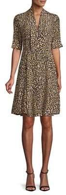 Derek Lam Animal-Print Silk Shift Dress