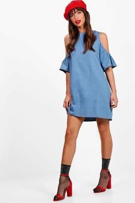 boohoo Zip Back Cold Shoulder Denim Dress