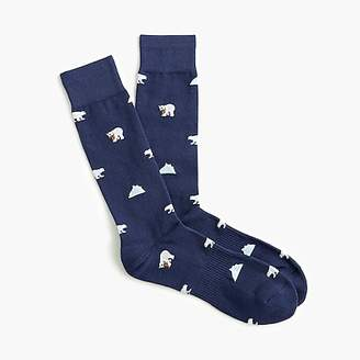 J.Crew Polar bear print padded footbed socks