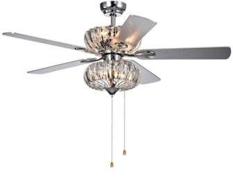 Bed Bath & Beyond Kyana Crystal 52-Inch 6-Light Ceiling Fan in Grey