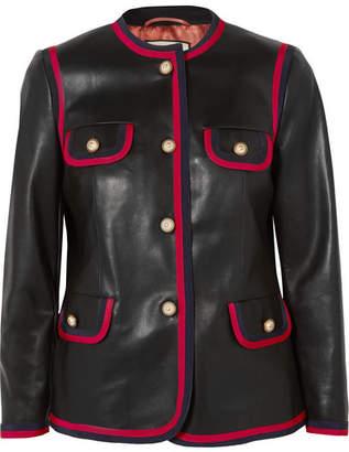 Gucci Grosgrain-trimmed Leather Jacket - Black