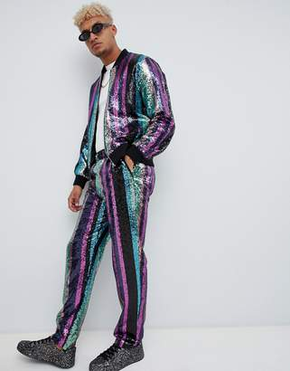 Asos DESIGN two-piece relaxed pants in sequin stripe