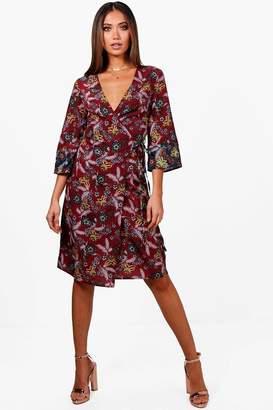 boohoo Zoe Oriental Wrap Kimono Duster