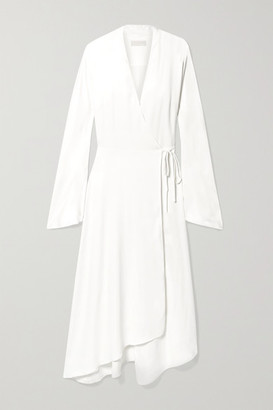 Les Héroïnes The Rose Asymmetric Satin Midi Wrap Dress - Ivory