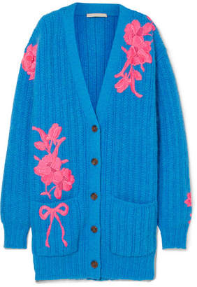 Christopher Kane Oversized Embroidered Wool-blend Cardigan - Blue
