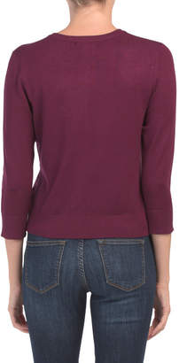 Three-quarter Sleeve Button Front Cardigan