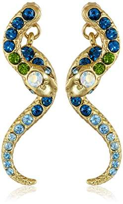 "Betsey Johnson Ocean Drive"" Pave Crystal Snake Front and Back Linear Earrings"