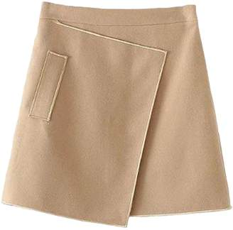Goodnight Macaroon 'Amanda' Camel A-line Structured Mini Skirt