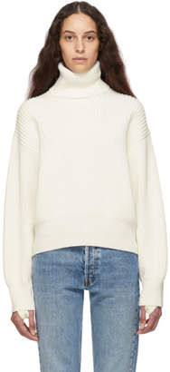 Helmut Lang Off-White Wool and Cotton Turtleneck