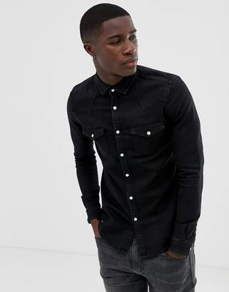 Asos Design DESIGN skinny denim western shirt in black