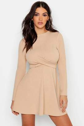 boohoo Long Sleeve Wrap Front Skater Dress