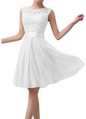 SUBWELL Women's Vintage Floral Lace Sleeveless Wedding Cocktail Party Chiffon Dress