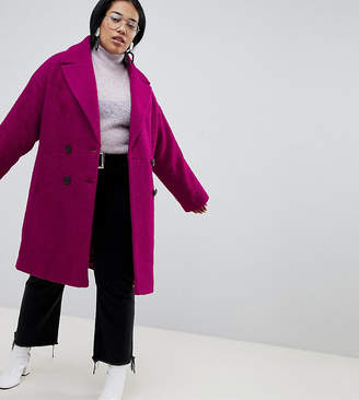 Asos DESIGN Curve double breasted coat in texture
