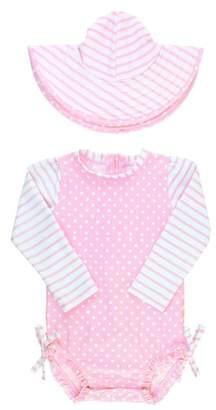 RuffleButts Ruffle Butts Polka Dot One-Piece Rashguard Swimsuit & Sun Hat Set