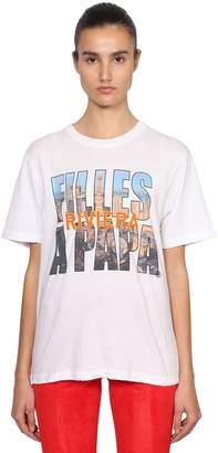 Filles a papa Logo Riviera Print Cotton T-Shirt