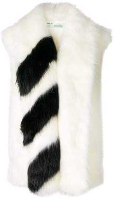 Off-White striped faux fur scarf
