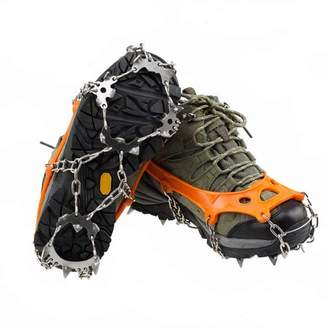 Jovivi Ice Cleats Snow Spikes Crampons Unisex Anti Slip Shoes Grippers w/ 18 Teeth Stainless Steel