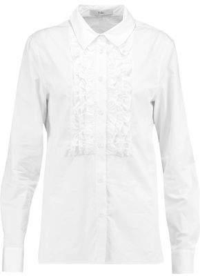 Tibi Ruffled Cotton-Poplin Shirt