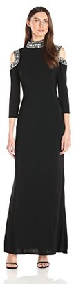Marina Women's Dress with Beaded Neckline and Armholes with Side Slit $199 thestylecure.com