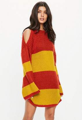 Missguided Orange Oversized Chunky Knit Stripe Sweater Dress