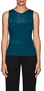 Narciso Rodriguez Women's Sheer-Detail Rib-Knit Top-Teal