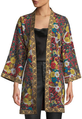 Alice + Olivia Lynn Short Side-Slit Kimono with Belt