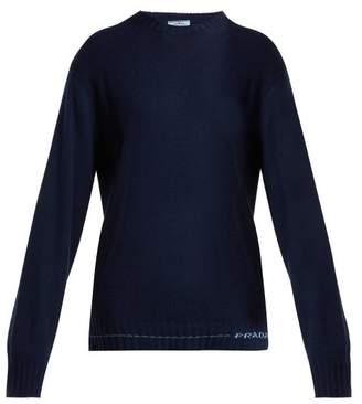 Prada Cashmere Intarsia Logo Sweater - Womens - Navy