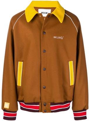 MSGM colour blocked bomber jacket