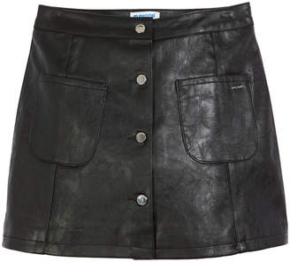 Mayoral Button-Front Faux-Leather A-Line Skirt, Size 8-16