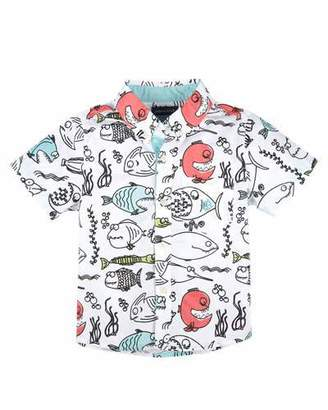 Andy & Evan Short-Sleeve Poplin Fish Shirt, White/Blue, Size 2-7 $48 thestylecure.com
