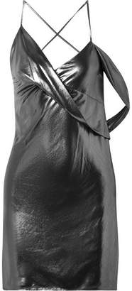 Michelle Mason - Backless Draped Lamé Mini Dress - Gunmetal