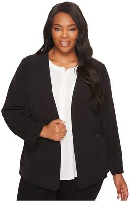 Vince Camuto Specialty Size Plus Size Milano Twill Open Front Blazer Women's Jacket