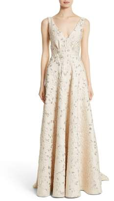 Carmen Marc Valvo Couture Reembroidered Cloque Gown