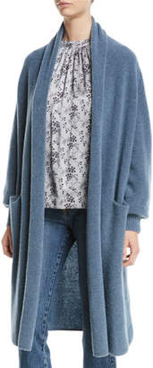 Co Open-Front Boucle-Knit Long Wool-Blend Cardigan