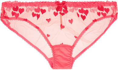 Agent Provocateur Agent Provocateur - Cupid Heart-embroidered Stretch-tulle Briefs - Fuchsia