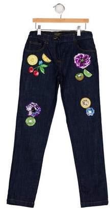 Dolce & Gabbana Girls' Embellished Denim Jeans w/ Tags