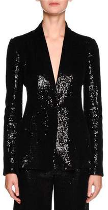 Giorgio Armani Sequined One-Button Tuxedo Jacket, Black $3,295 thestylecure.com