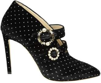 Jimmy Choo larissa 100 Ankle Boots In Velvet Color Black With Silver Glitter