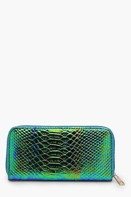 boohoo Womens Ellie Holographic Snake Mermaid Purse in Green size One Size