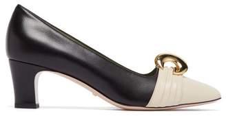 Gucci Half Moon Gg Leather Pumps - Womens - Black Cream