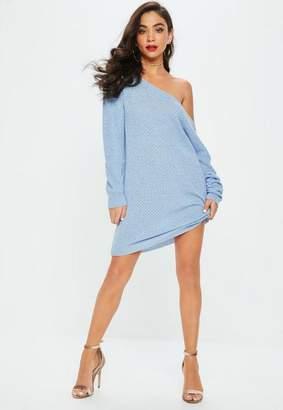 Missguided Blue Off Shoulder Sweater Dress