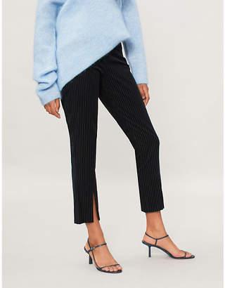 Frame Split-hem striped velvet trousers